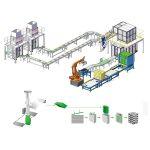 línia de paletització de producció d'envasos secundaris